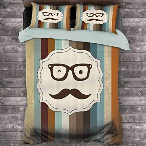 Toopeek Modern 3-Pack (1 Duvet Cover and 2 Pillowcases) Funny Man Face with Moustache and Glasses Winking on Striped Background Sir Artwork Polyester (Queen) Multicolor