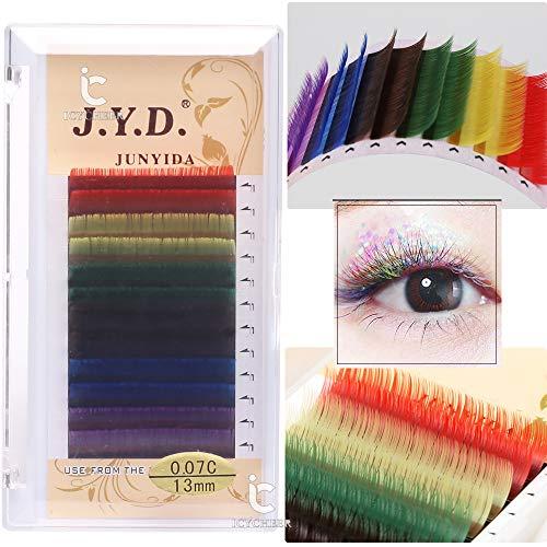 ICYCHEER Juego de extensión de pestañas, 6 colores, mezcla de grosor, color arcoíris, bandeja de pestañas, pestañas naturales