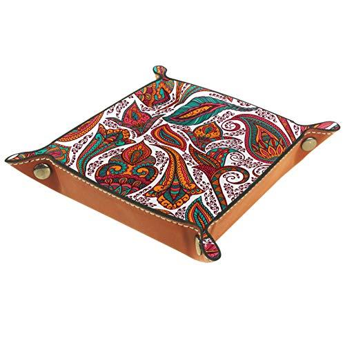 Nachttisch Valet Tray Organizer – Leder Kommode Organizer Box für Damen und Herren – Schmuck Zubehör Catchall Tablett für Tisch Desktop Rot Mandala Paisley abstrakt