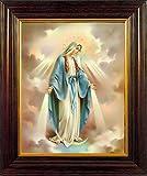 Stampa incorniciata con medaglie di Nostra Signora Miracolosa in legno con finitura in mogano, 25 cm 30 cm con peltro Love Double Heart Pewter Token 8320