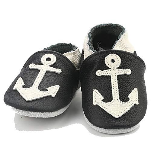 Kinderschuhe aus weichem Leder, erste Schritte nicht weich, für Babys, Mädchen, Jungen, - Anker - Größe: 0-6 mois