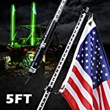 Xprite 5FT Whip Lights, Waterproof Green LED Flexible Whip Lights with Flag Pole Safety Antenna for 2021 Polaris RZR XP 1000, UTV, ATV, Yamaha, Side by Side, Can Am Maverick X3 and Other Models
