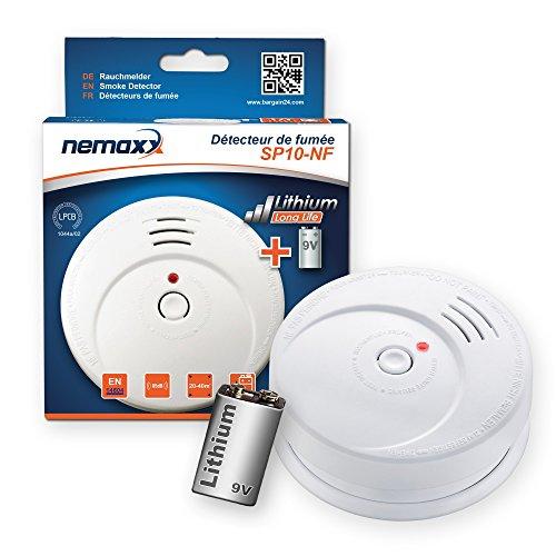 Nemaxx SP Rauchmelder Rauchwarnmelder fotoelektrisch nach DIN EN14604 mit 9V Lithiumbatterie mit 10 Jahren Lebensdauer