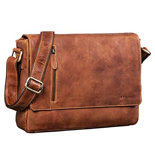 STILORD 'Davis' Messenger Bag Leder 13 Zoll Laptop Tasche Vintage Umhängetasche Schultertasche für Uni Büro Büchertasche Messengertasche Echtleder, Farbe:Arona - braun