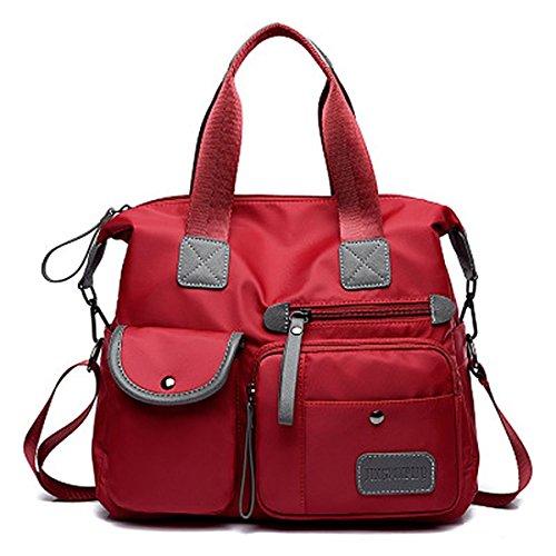 SODIAL rosso Canvas Bag nuovo modo delle signore impermeabile Oxford Borsa Casual Nylon Tracolla sacchetto della mummia di grande capienza