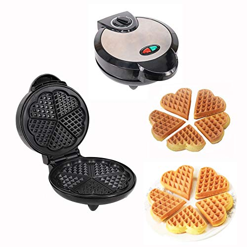 Gofrera Waffle Maker, Forma De Corazón Máquina Eléctrica Grado De Comida Recubrimiento Antiadherente, Acero Inoxidable Bélgica Gofre Americano, Control De Temperatura Ajustable, 1200W Regalo