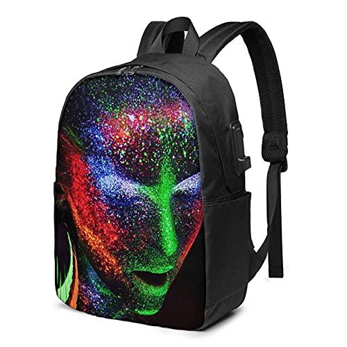 XCNGG Blacklight & Neon Makeup Mochila de Viaje para computadora portátil, Mochila con Puerto de Carga USB, para Hombres y Mujeres, se Adapta a 17 Pulgadas
