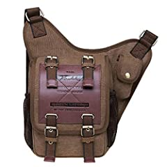 DURABLE & GOOD QUALITY:16OZ canvas is eco-friendly and durable. The buckles on the front are decorative with very strong magnets that hold the front flap shut. This Messager Bag becomes more high-end with high quality of nylon lining. Most of the lea...