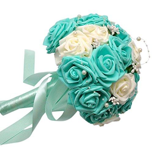 Coloré(TM) Roses de cristal Roses de cristal perle demoiselle d'honneur de mariage Bouquet de mariée en soie artificielle fleurs (Bleu)
