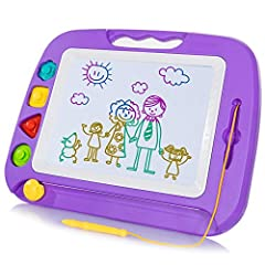 Large Drawing Area - The drawing area is up to 26*20CM, providing much space for toddlers to express their artistic imagination in the premium drawing toy with vivid and smooth line. Stamps Won't Lose - The premium stamps are magnetized to easily sta...