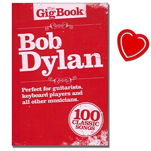 Bob Dylan - The Gig Book - Lyriken, akkoorden doos, melodieënlijn, tekst, zwart-wit foto's - notenboek met kleurrijke hartvormige notenklem