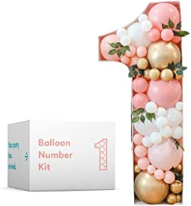 TUR Party Supplies 4 ft Balloon Number Mosaic Pre-Cut Kit No Hot Glue Needed | Number 1 | Marquee Balloon Mosaic | Giant Cutout Number Frame | Perfect 1st Birthday Backdrop | (Balloons NOT Included)