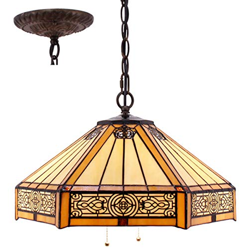 Tiffany Hanging Lamp 16 Inch Pull Chain Yellow Stained Glass...