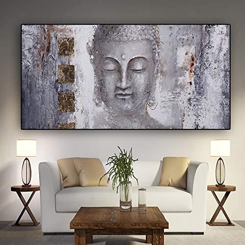 Zen Lord Buddha Ölgemälde auf Leinwand Religiöse Plakate und Drucke Wand Pop Art Bilder Wohnzimmer A 50x100CM