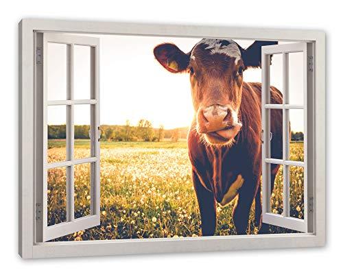Pixxprint Kuh auf Butterblumenwiese, Fenster Leinwandbild |Größe: 80x60 cm | Wandbild | Kunstdruck