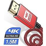 4K HDMI ケーブル 1.5m 4K 60Hz ハイスピードHDMI 2.0規格HDMI Cable 4k対応 3840p/2160p UHD 3D HDR 18Gbps 高速イーサネット ARC hdmi ケーブル - 4K対応 パソコンの画面をテレビに映す Apple TV,Fire TV Stick,PS5/PS4, PCモニター,Nintendo Switchなど適用 Stick,PS5/PS4/PS3, PCモニター,Nintendo Switchなど適用 (レッド)