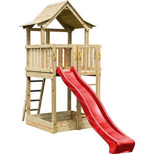 Blue Rabbit 2.0 Spielturm PAGODA mit Rutsche 2,90 m großes Podest 1,60 x 1,40 m Kletterturm Holzturm Spielplatz Kiefer imprägniert (Rot)