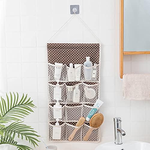 BAIGM Bolsa de almacenamiento para colgar en la pared, 2 unidades, para colgar sobre la puerta, organizador impermeable, plegable, con 16 bolsillos para dormitorio, baño