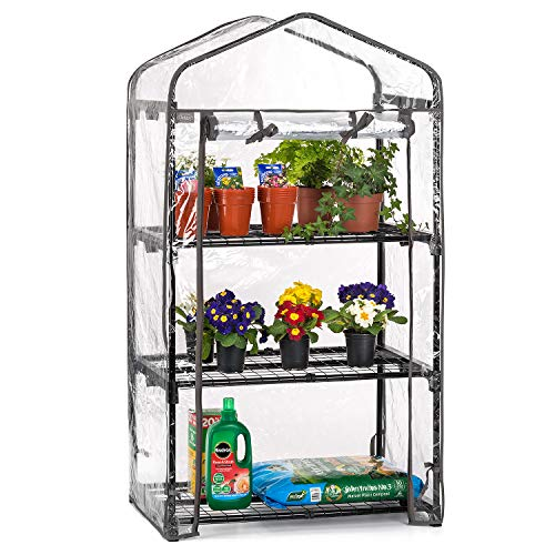 CHRISTOW 3 Tier 4ft Greenhouse, Mini Portable Compact Garden Growhouse, Sturdy Steel Frame, Double Zip PVC Cover