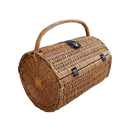 Tragbare gewebte Wicker Picknickkörbe für 2 Personen ausgestattet Barrel mit Deckel Reise Camping Shopping Obst Lagerung Geschenkkörbe (Color : Brown, Größe : 16.53 * 10.23 * 17.71inchs)
