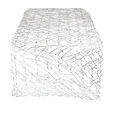 DII Woven Paper Decorative Metallic Table Runner for Holidays, Parties, and Everyday Décor (14x72) Silver