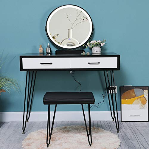 Iwell Vanity Table Set with 3 Colors LED Lighted Mirror, Makeup Vanity Table with 2 Large Drawers & Cushioned Stool, for Women, Girl, Dressing Desk for Bedroom, Bathroom, Black