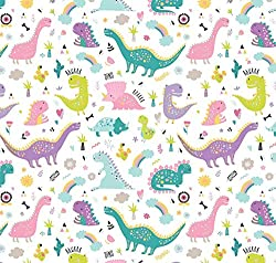 6. Stesha Party Pink Dinosaur Birthday Party Wrapping Paper Sheets