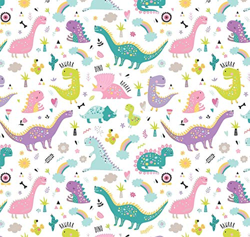 Pink Dinosaur Birthday Party Wrapping Paper, Folded Flat 30 x 20 Inch, 3 Sheets