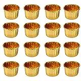 YOUYIKE Moldes para Magdalenas, 50 Unidades de Papel Metálico para Hornear, Moldes de Papel de Aluminio para Hornear, Papel Molde Muffin Cases, Papel para Cupcakes,Moldes para Hornear (Dorados)