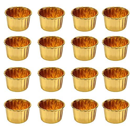 YOUYIKE 50 Stücke Muffin Förmchen aus Aluminiumfolie, Cupcake Muffin Förmchen, Muffin Backförmchen, Backförmchen aus Metallfolie für Muffins und Cupcakes (Gold)
