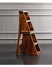 WUFENG Sedie a Scomparsa Multifunzione Nordic Creative Quattro Strati Pieghevoli a Multistrato Sedia in Legno massello scaletta Sgabello a gradini