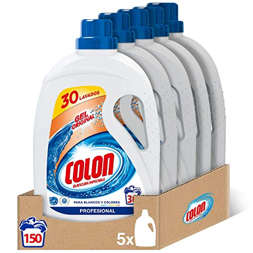 Colon Gel Original Profesional - Detergente para lavadora, adecuado para ropa blanca y de color, formato gel, pack de 5, hasta 150 dosis