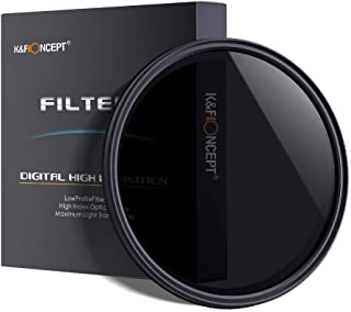 K&F Concept 49mm Slim HD Multi-Coated Variable Polarizing ND Neutral Density Adjustable ND2 ND4 ND8 to ND400 Lens Filter + Lens Cleaning Cloth for Cameras Lens