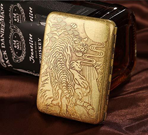 XIAOXIA Pure Copper Cigarette Case King of Tiger Mountain 16-Piece Men's Creative Personality Ultra-Thin Portable Metal Cigarette Case