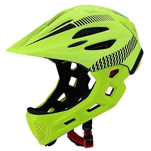 YAJAN-helmet Casco Integrale da Bici per Bambini,Casco Integrale per Ciclista Mountain Bike Balance Slide Removable Adatto per Circonferenza della Testa 42-52 cm