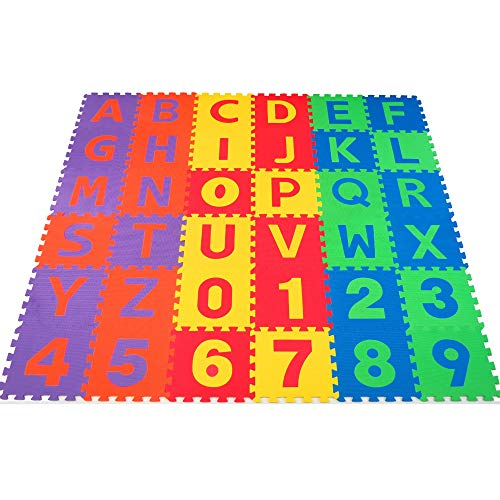 Non-Toxic 36 Piece ABC Foam Mat - Alphabet & Number Puzzle Play & Exercise Flooring Mat for Children & Toddlers