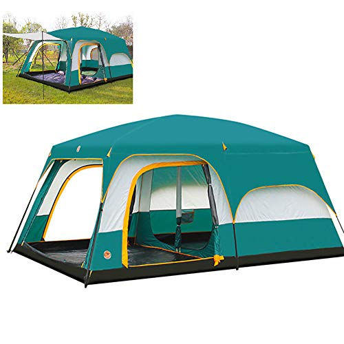 HXML Outdoor Adventure Camping Family Tent Instant Setup Portable Windproof Cabana with 2 Separated Room for Picnics, Gathering