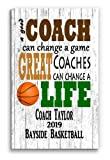 Broad Bay Personalized Basketball Coach Gift Rustic Sign for Team Coaches Men or Women Customized Coach's Appreciation Award