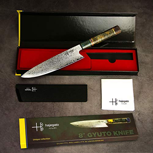 Damascus Chef Knife Gyuto Hajegato Unique One Of Kind Handle Professional 8 Inch Japanese Chefs Kitchen Knife Vg10 67 Layers Damascus Steel Knive with Sheath