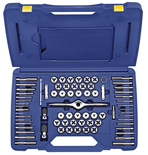 IRWIN Tap And Die Set, Machine/Fractional/Metric Plug Tap and 1-Inch Hex Die, 75-Piece (1813816)