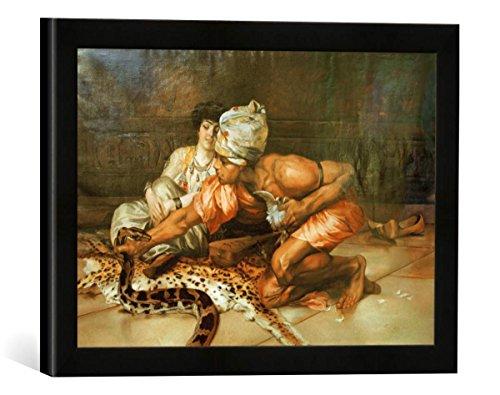 Gerahmtes Bild von Eugène Pawy Schlangendompteur und Haremsdame, Kunstdruck im hochwertigen handgefertigten Bilder-Rahmen, 40x30 cm, Schwarz matt