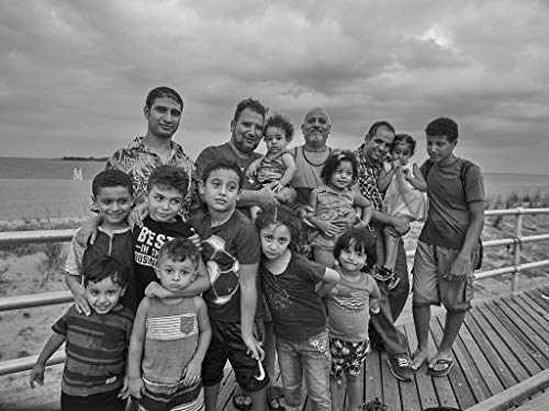 18 x 24 Black & White Canvas Wrap of Members of six Visiting Egyptian Families The Mikhaeils The Bebawis The Mansours The Shakers The Awads and The Gads Gather on The Boardwalk at y55 2018 Highsmith