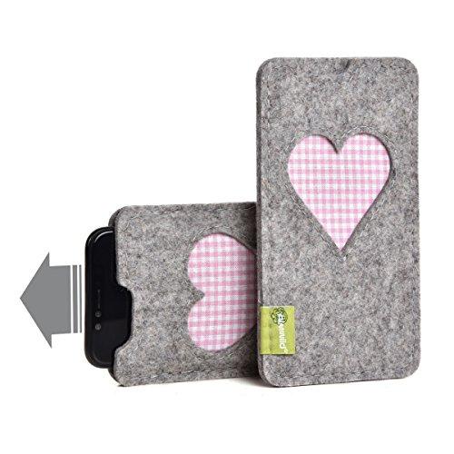 Almwild® Hülle, Tasche für Apple iPhone X/Xs, iPhone 10 / 10s MIT Apple Leder Case/Silikon Case aus Filz. In Alpstein- Grau mit Herz. Handyhülle Handytasche Gschbusi in Bayern handgefertigt.