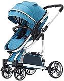 JINCAN. Sistema di viaggio Passeggino per bambini, Carrozzina neonata leggera urbana con ruota di smorzamento in gomma, carrozzina pieghevole con baldacchino extra-grande (Colore : Blu)