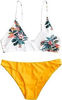 ZAFUL Bikini para mujer con tirantes de espagueti, triangular, tropical, hojas