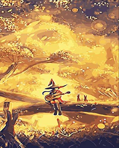 DMLGQ DIY digitaal schilderij, olieverfschilderset, zelfgemaakte decoratie, schilderij op canvas, 16 x 20 inch, 40 x 50 cm, houten piano spelen Frameloos