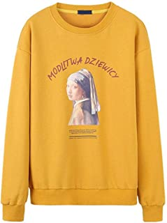 Sweatshirt Autumn Round Neck Pullover, Men's Casual Pearl-Wearing Girl Printed Long-Sleeved Crew Neck Sweatshirt (Color : Yellow, Size : M)