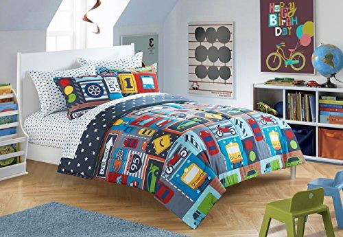 Little Starter Crib Size Microfiber Cars Trains Trucks 4 Piece Bed in a Bag Set, 43x58, Blue