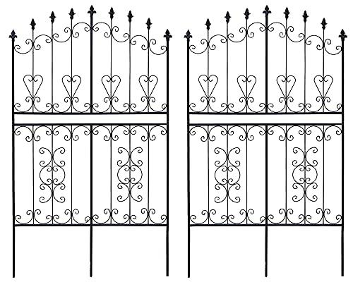 ガーデンガーデン お庭をエレガントに彩る IBフェンス ローズワイド ロータイプ 幅92.5×高さ155cm 2枚セット ブラック アイアントレリス IBF-RSWIDE155-2P