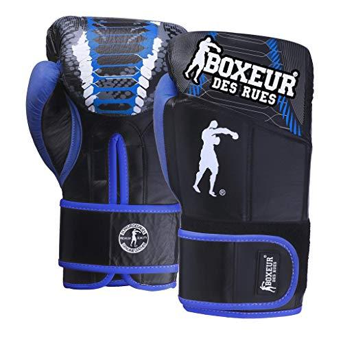 BOXEUR DES RUES Serie Fight Activewear, Guantoni da Boxe in Pelle con Imbottitura Rinforzata Unisex – Adulto, Blu, 12 OZ